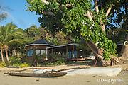traditional Tongan outrigger canoe in front of Ika Lahi Fishing Lodge, Hunga Island, Vava'u, Kingdom of Tonga, South Pacific
