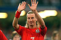 Photo. Daniel Hambury.<br /> 2006 FIFA World Cup Qualifier.  08/09/2004.<br /> <br /> Wales V Northern Ireland<br /> <br /> Wales' Robbie Savage lines up for the national anthem before the kick off<br /> <br /> NORWAY ONLY
