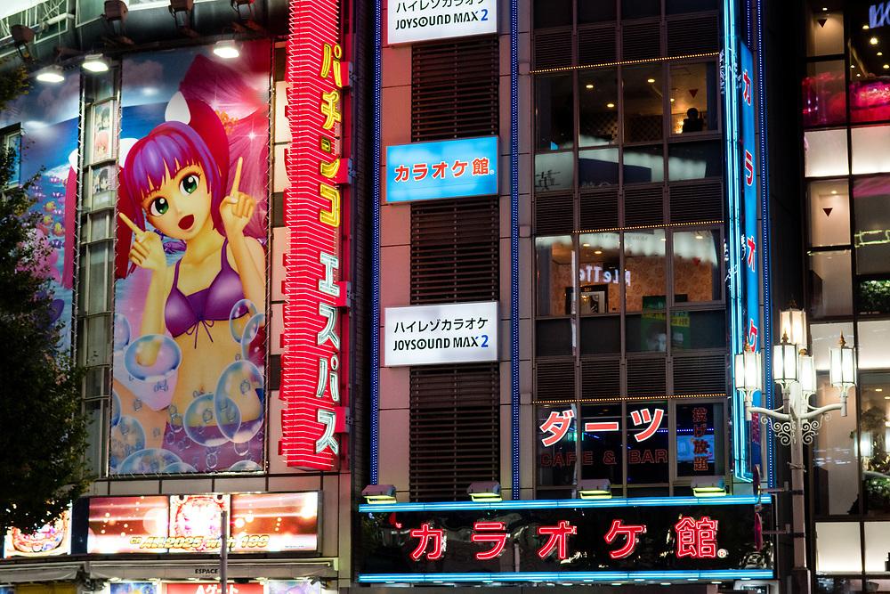 Neon advertising in Kabukicho.