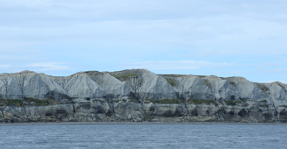 Eroded glacial deposits at the end of Isla Bridges. Beagle Channel. Ushuaia, Argentina. 13Feb16