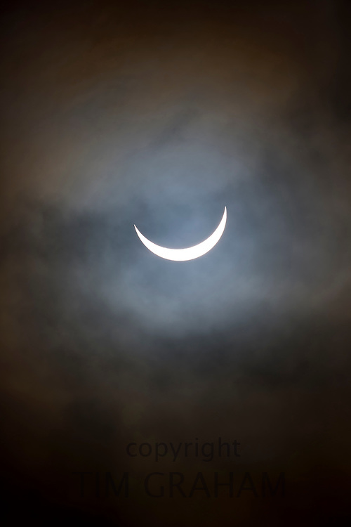 09.30 March 2015 Solar eclipse, partial eclipse of the sun, rare natural phenomenon seen from Burford, The Cotswolds, England UK