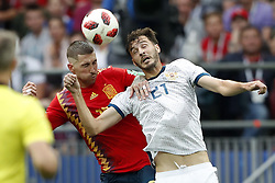 (L-R) Sergio Ramos of Spain, Aleksandr Erokhin of Russia during the 2018 FIFA World Cup Russia round of 16 match between Spain and Russia at the Luzhniki Stadium on July 01, 2018 in Moscow, Russia