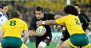 Liam Messam on the charge for the All Blacks, Rugby Championship. Australia v All Blacks at ANZ Stadium, Sydney, New Zealand. Saturday 18 August 2012. New Zealand. Photo: Richard Hood/photosport.co.nz