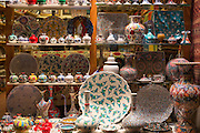 Turkish hand-painted ceramic vases bowls in window of gift shop in Kucukayasofya Caddesi, Sultanahmet, Istanbul, Turkey