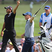 Jordan Spieth, USA, tees off and signals a wayward shot with Jason Day, Australia, during The Barclays Golf Tournament at The Plainfield Country Club, Edison, New Jersey, USA. 27th August 2015. Photo Tim Clayton