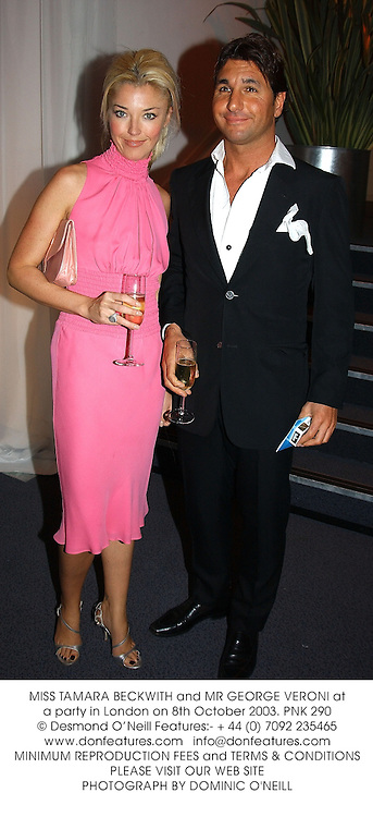 MISS TAMARA BECKWITH and MR GEORGE VERONI at a party in London on 8th October 2003.PNK 290