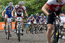 © licensed to London News Pictures. Pickering, UK. 20/05/11. Antoine Caron (74) of Canada during the men's under 23 race. 2011 UCI Mountain Bike Cross-Country World Cup at Dalby Forest..Please see special instructions for usage rates. Photo credit should read: Reuben Tabner