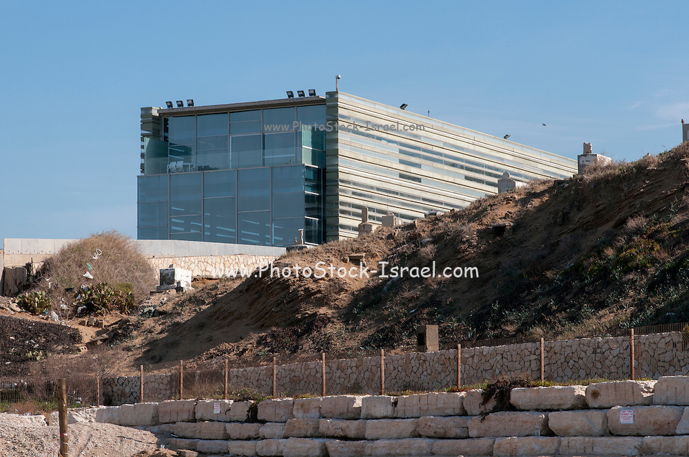 The Peres Center for Peace, on the Jaffa shoreline, Israel as seen from the beach