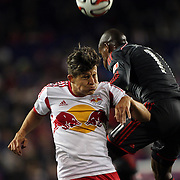 Ruben Bover Izquierdo, (left), New York Red Bulls and Jackson, Toronto FC, challenge for the ball during the New York Red Bulls Vs Toronto FC, Major League Soccer regular season match at Red Bull Arena, Harrison, New Jersey. USA. 11th October 2014. Photo Tim Clayton