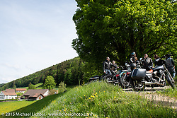 Stop at on the Passwang Pass in Solothurn on the group ride after the Art and Wheels art and motorcycle show in Basel, Switzerland. May 17, 2015. Photography ©2015 Michael Lichter.