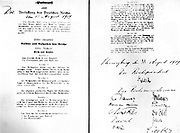 Signed agreement of the forming of the Weimar government, 11 August 1919. Chancellor (President) Ebert's signature is shown.