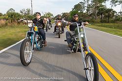 Joe Marshall (L) riding his custom Harley-Davidson 1977 Shovelhead beside Garrett Maddalone on his Harley-Davidson Pan-Shovel on a ride toward Cape Canaveral during Daytona Beach Bike Week, FL. USA. Monday, March 11, 2019. Photography ©2019 Michael Lichter.