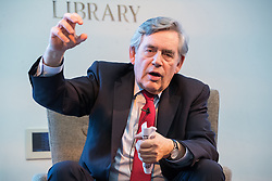 "© Licensed to London News Pictures. 16/11/2017. Manchester, UK. Former British Prime Minister GORDON BROWN hosts a talk about the financial crash and his time in politics, as Chancellor and then Prime Minister, as part of his promotional tour for his book , "" My Life, Our Times "", at the Manchester Central Library . Photo credit: Joel Goodman/LNP"