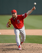 GLENDALE, ARIZONA - MARCH 04:  Jared Walsh #75 of the Los Angeles Angels pitches against the Chicago White Sox on March 4, 2019 at Camelback Ranch in Glendale Arizona.  (Photo by Ron Vesely)  Subject:  Jared Walsh