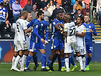 Football - 2019 / 2020 Sky Bet (EFL) Championship - Swansea City vs. Reading<br /> <br /> André Ayew of Swansea City & Leandro Bacuna of Cardiff City jostle as tempers spill over , at the Liberty Stadium.<br /> <br /> COLORSPORT/WINSTON BYNORTH