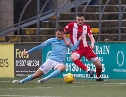 Forfar Athletic's Darren Whyte  and East Fife's Anton Dowds. half time : Forfar Athletic 3 v 0 East Fife, Scottish Football League Division One game played 2/3/2019 at Forfar Athletic's home ground, Station Park, Forfar.