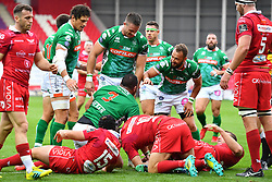 Simone Ferrari of Benetton Treviso celebrates scoring his sides second try<br /> <br /> Photographer Craig Thomas/Replay Images<br /> <br /> Guinness PRO14 Round 3 - Scarlets v Benetton Treviso - Saturday 15th September 2018 - Parc Y Scarlets - Llanelli<br /> <br /> World Copyright © Replay Images . All rights reserved. info@replayimages.co.uk - http://replayimages.co.uk