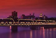 Walnut Street Walking Bridge, Harrisburg Skyline, Night Lights, Capitol, Harrisburg, Pennsylvania