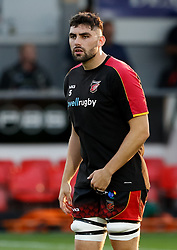Dragons' Cory Hill during the pre match warm up<br /> <br /> Photographer Simon King/Replay Images<br /> <br /> Guinness PRO14 Round 1 - Dragons v Benetton Treviso - Saturday 1st September 2018 - Rodney Parade - Newport<br /> <br /> World Copyright © Replay Images . All rights reserved. info@replayimages.co.uk - http://replayimages.co.uk