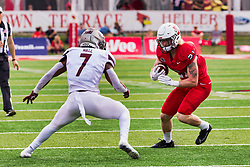 NORMAL, IL - October 02: Titus Wall looks to stop Cole Mueller during a college football game between the Bears of Missouri State and the ISU (Illinois State University) Redbirds on October 02 2021 at Hancock Stadium in Normal, IL. (Photo by Alan Look)