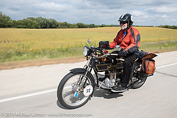 Byrne Bramwell of Ontario, Canada, rode his Henderson-4 on the Motorcycle Cannonball coast to coast vintage run. Stage 7 (274 miles) from Cedar Rapids to Spirit Lake, IA. Friday September 14, 2018. Photography ©2018 Michael Lichter.
