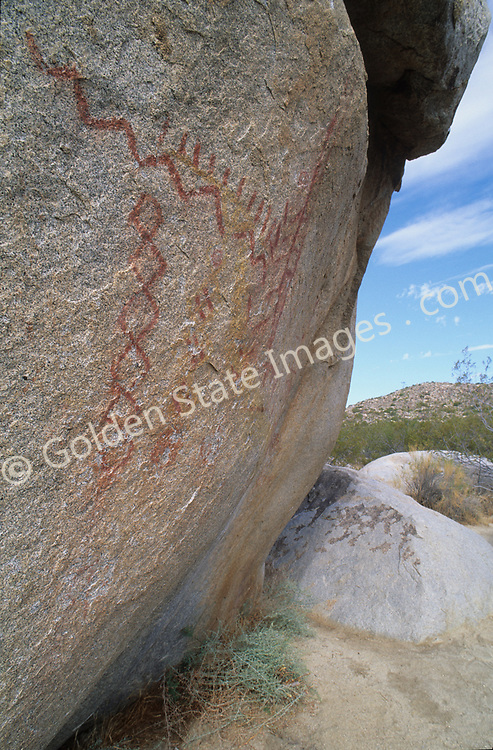 Indian Rock Art or  Pictographs located in Anza Borrego Desert. <br /> <br /> This rock art is believed to be five to seven hundred years old.    <br /> <br /> Archaeological research done in this area indicates it had been a site that indigenous people had occupied for over 6000 years, with the most recent being the Kumeyaay.    <br /> <br /> Anza Borrego Desert is California's largest state park where temperatures can be in the triple digits year-round. The park covers 600,000 acres of desert, including badlands, palm canyons, rock formations, slot canyons, wildflower displays and cactus. <br /> <br /> Geologists and paleontologists believe this parched desert was once underwater, and home to fish, sea turtles, and sharks.  Remnants of its former life can be found, including seashell fossils and wild rock formations.
