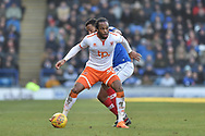Blackpool Forward, Nathan Delfouneso (30) holds off Portsmouth Midfielder, Anton Walkes (2) during the EFL Sky Bet League 1 match between Portsmouth and Blackpool at Fratton Park, Portsmouth, England on 24 February 2018. Picture by Adam Rivers.