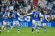 Sheffield Wednesday Players Celebrate after Sheffield Wednesday forward Gary Hooper (14) scores a goal to make it 1-2 during the EFL Sky Bet Championship match between Sheffield Wednesday and Sheffield Utd at Hillsborough, Sheffield, England on 24 September 2017. Photo by Adam Rivers.