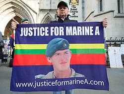 April 28, 2017 - FILE - Alexander Blackman freed having served three and a half years after murder conviction replaced with diminished responsibility manslaughter - PICTURED March 28, 2017 - London, United Kingdom - Marine A sentencing,High Court,London. Supporters of Sgt Alexander Blackman outside the High Court. (Credit Image: © Mark Thomas/i-Images via ZUMA Press)