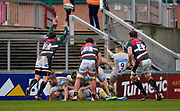 Wasps Scrum-half Ben Vellacott puts up a clearance kick during a Gallagher Premiership Round 10 Rugby Union match, Friday, Feb. 20, 2021, in Leicester, United Kingdom. (Steve Flynn/Image of Sport)