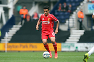 Liverpool's Philippe Coutinho in action. Pre-season friendly match, Preston North End v Liverpool at Deepdale in Preston, England on Saturday 19th July 2014.<br /> pic by Chris Stading, Andrew Orchard sports photography.