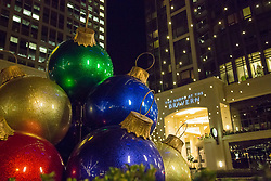USA, Washington, Bellevue. Holiday decorations in downtown retail area.