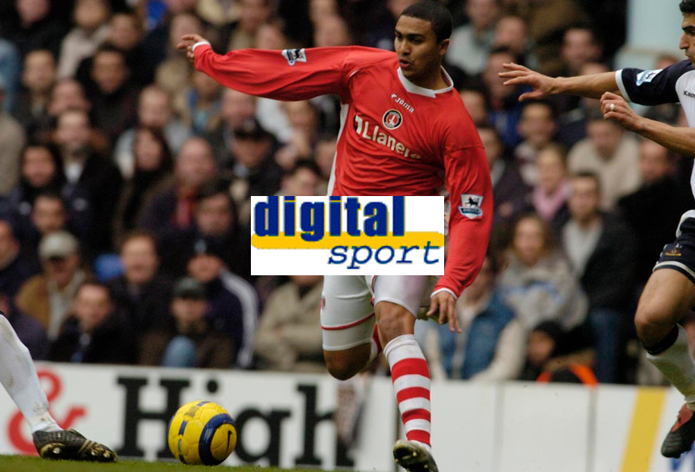 Photo: Leigh Quinnell.<br /> Tottenham Hotspur v Charlton Athletic. The Barclays Premiership. 05/02/2006. Charltons Jerome Thomas shoots to score a goal for Charlton.