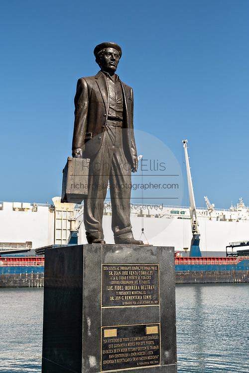 Statue honoring successful businessman Juan Jose Venta called The Immigrant along the Malecon in the historic center of the city of Veracruz, Mexico.