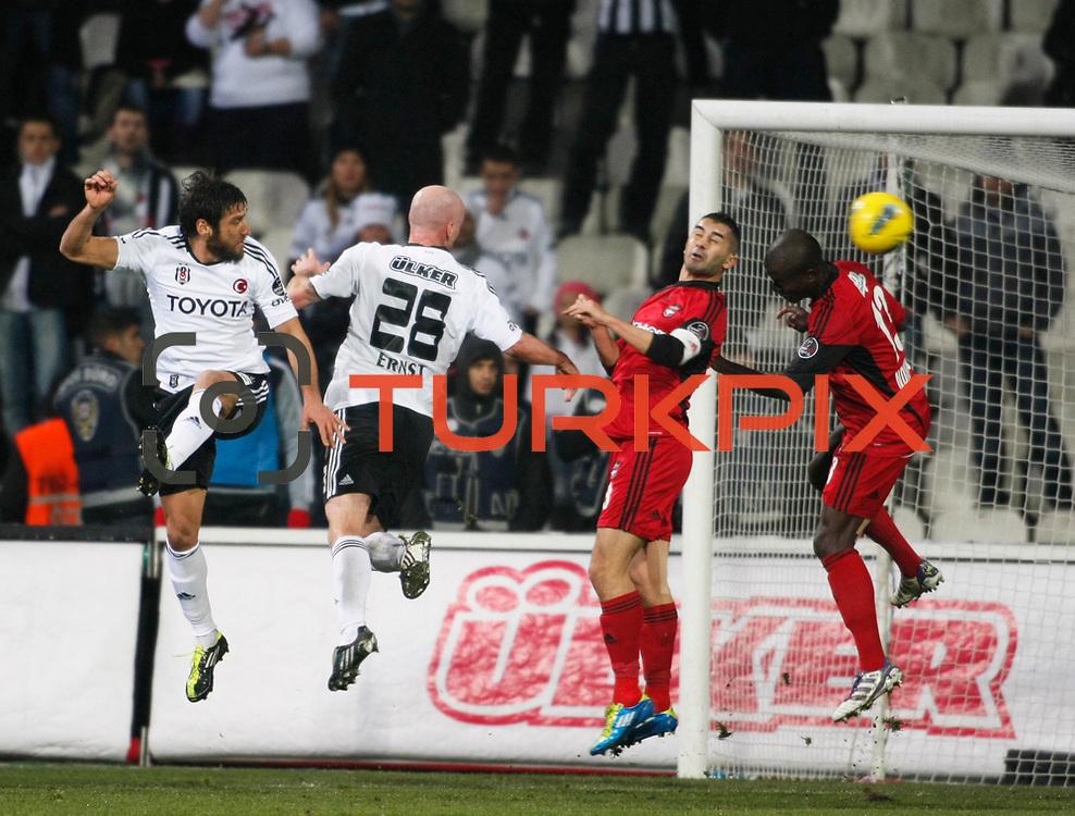 Besiktas's Egemen Korkmaz (L) during their Turkish superleague soccer match Besiktas between Gaziantepspor at BJK Inonu Stadium in Istanbul Turkey on Tuesday, 05 January 2012. Photo by TURKPIX