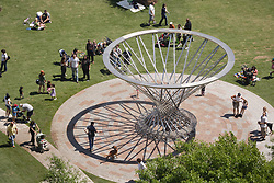 Stock photo of an aerial view of the Mist Tree fountain on the Sarofim Picnic Lawn by Doug Hollis