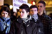 Protestors shout slogans during a demonstration against corruption in Madrid