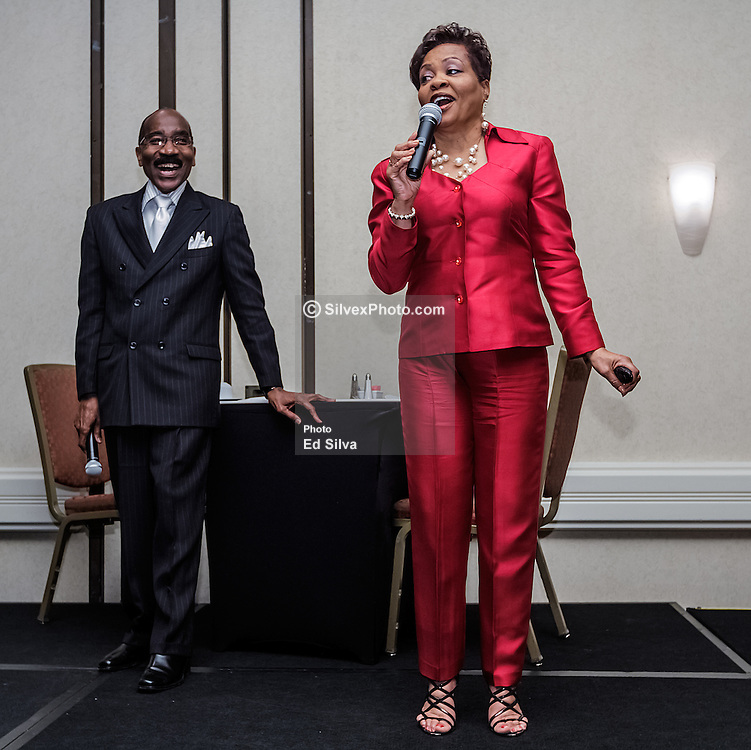 IRVINE, CA - MARCH 2:  Ron and Josie Martin address about proper etiquette to students from different southern california high schools attending the Working Wardrobes Dream Girls & Distinguished Gentlemen 2013 event at the Irvine Hilton in Irvine, CA. Working Wardrobes (http://www.workingwardrobes.org) is a non-profit organization located in Costa Mesa, CA. PHOTO: © 2013 SILVEX.PHOTOSHELTER.COM.