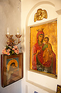 Rare Madonna, Virgin Mary, Icons 12th Century Greek Orthodox Byzantine Church of the Ayioi Apstoloi  Katomeria, Kea, Greek Cyclades Islands .<br /> <br /> Visit our GREEK HISTORIC PLACES PHOTO COLLECTIONS for more photos to download or buy as wall art prints https://funkystock.photoshelter.com/gallery-collection/Pictures-Images-of-Greece-Photos-of-Greek-Historic-Landmark-Sites/C0000w6e8OkknEb8