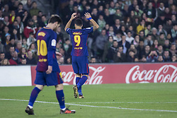 January 21, 2018 - Seville, Spain - LUIS SUAREZ (R) of Barcelona laments after missing a chance at goal during the La Liga soccer match between Real Betis and FC Barcelona at Benito Villamarin Stadium (Credit Image: © Daniel Gonzalez Acuna via ZUMA Wire)