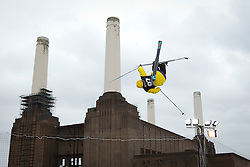 © Licensed to London News Pictures. 26/10/2012. LONDON, UK. A freestyle skier takes part in the Relentless Energy Drink Freeze festival next to Battersea Power station in London today (26/10/12). Photo credit: Matt Cetti-Roberts/LNP