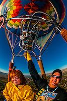 Flying in a hot air balloon at the Albuquerque International Balloon Fiesta, Albuquerque, New Mexico USA.
