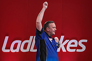Mark McGeeney wind his first round match against Devon Peterson and celebrates during the Ladrokes UK Open 2019 at Butlins Minehead, Minehead, United Kingdom on 1 March 2019.
