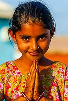 Girl with mehndi design (henna hand painting), Bishnoi tribal village, near Rohet, Rajasthan, India
