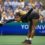 2019 US Open Tennis Tournament- Day Eleven.  Serena Williams of the United States strikes a pose after a shot against Elina Svitolina of the Ukraine in the Women's Singles Semi-Finals match on Arthur Ashe Stadium during the 2019 US Open Tennis Tournament at the USTA Billie Jean King National Tennis Center on September 5th, 2019 in Flushing, Queens, New York City.  (Photo by Tim Clayton/Corbis via Getty Images)