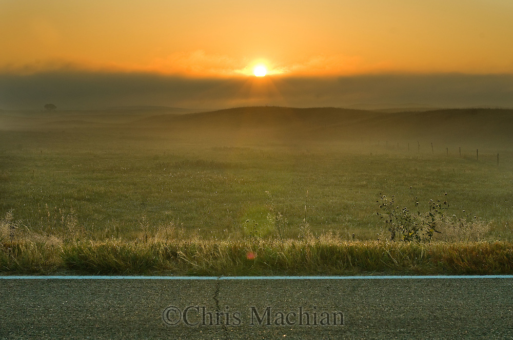 9/27/08 Valentine, NEB.Sunrise at Sandhills during a foggy morning.Chris Machian/for the New York Times