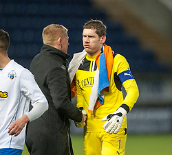 Falkirk's manager Gary Holt and keeper Michael McGovern at the end.<br /> Falkirk 1 v 1 Morton, Scottish Championship game today at The Falkirk Stadium.<br /> © Michael Schofield.