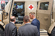 The Rheinmetall stand includes armoured medical vehicles - The DSEI (Defence and Security Equipment International) exhibition at the Excel Centre, Docklands, London UK 15 Sept 2015