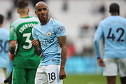 Manchester City midfielder Fabian Delph (18) acknowledges the visiting fans after the Premier League match between West Ham United and Manchester City at the London Stadium, London, England on 29 April 2018. Picture by Toyin Oshodi.