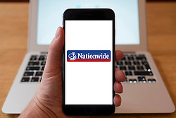 Using iPhone smart phone to display website logo of Nationwide British mutual financial institution